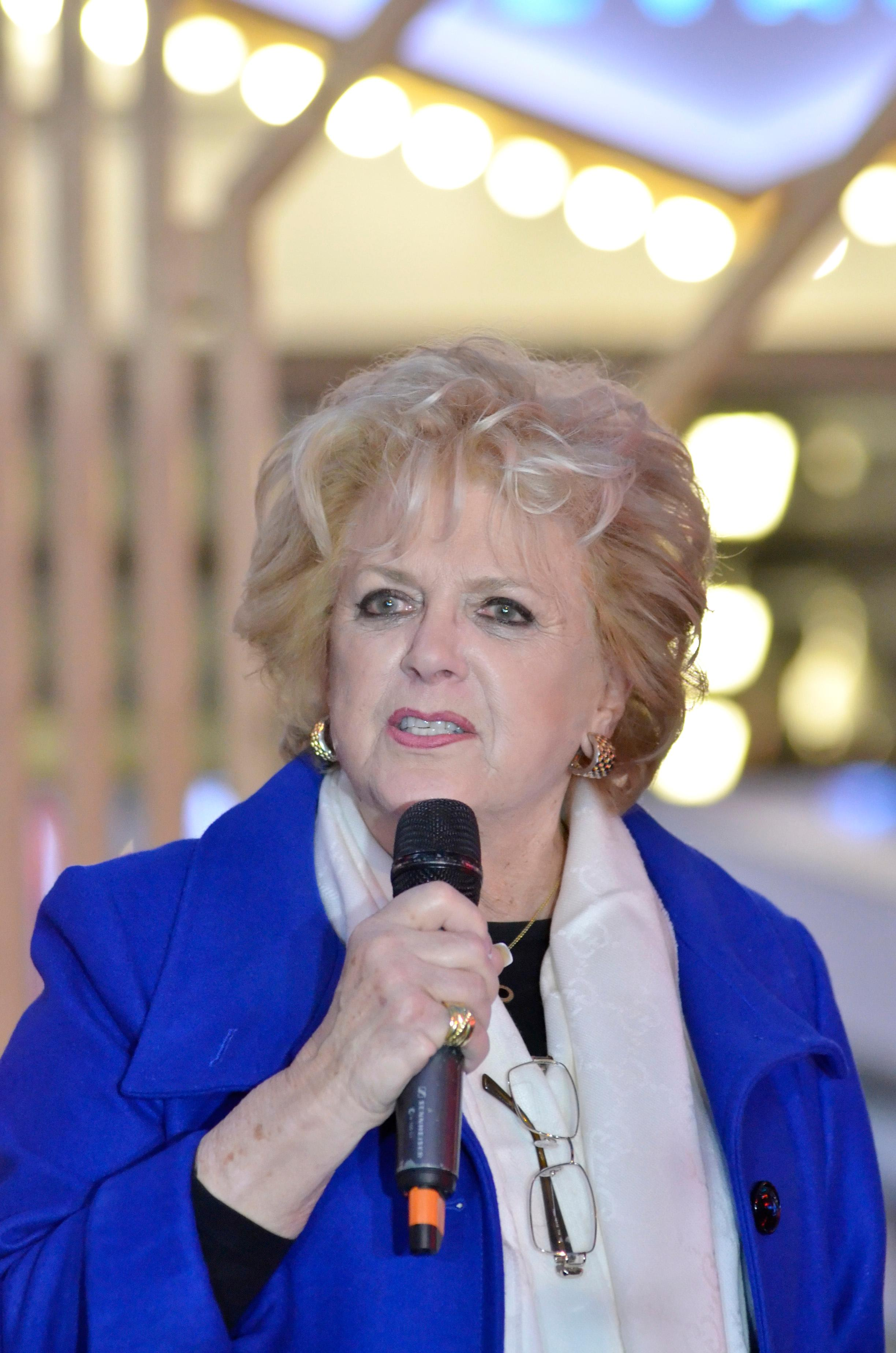 Las Vegas Mayor Carolyn Goodman speaks during a menorah lighting ceremony. Rabbi Shea Harlig, of the Chabad Jewish Center of Southern Nevada, Patrick Hughes, President and CEO of Fremont Street Experience, and Jonathan Jossel, CEO of the Plaza hotel-casino, were on hand for the first night of Hanukkah which was marked with the lighting of a 20-foot Grand Menorah on Fremont Street in downtown Las Vegas on Tuesday, Dec. 12, 2017. CREDIT: Bill Hughes/Las Vegas News Bureau
