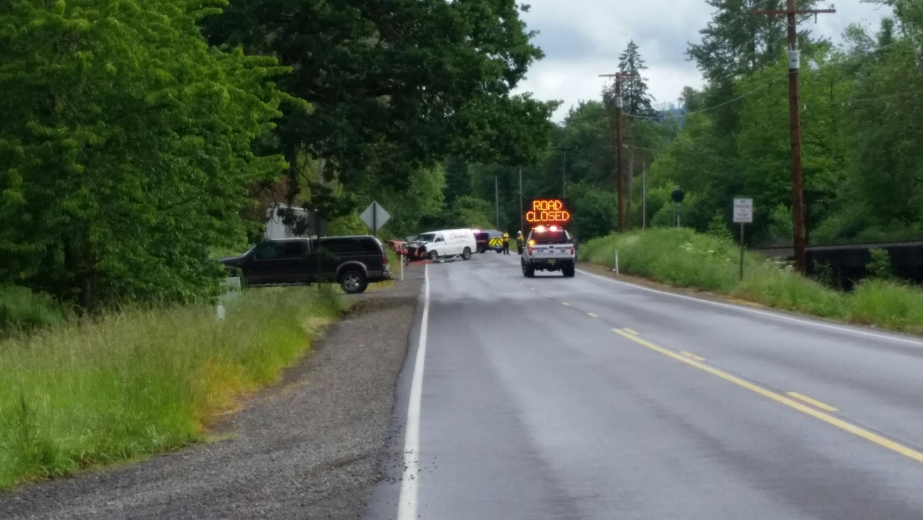 A 2-vehicle crash closed Hwy 99 north of Cottage Grove on Monday, May 16, 2016. (SBG Photo)