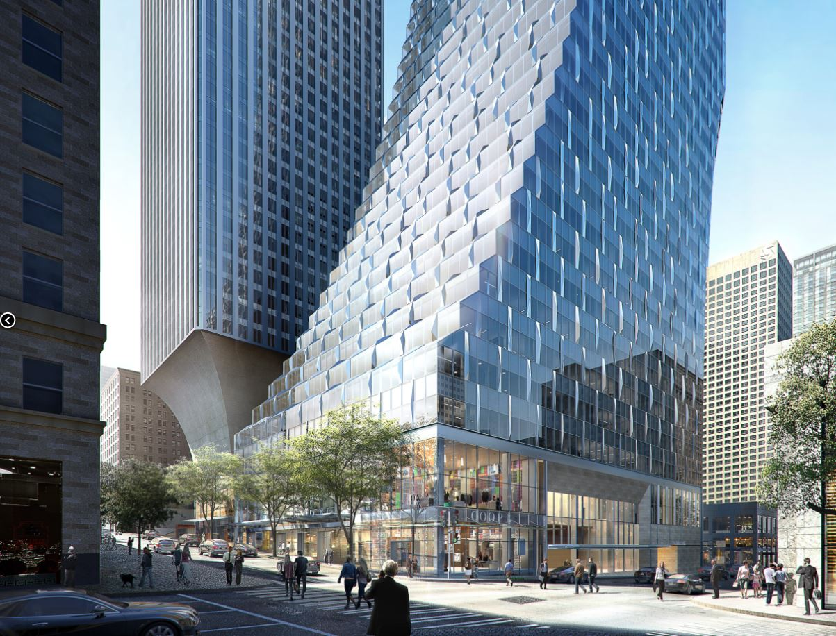 Views of Rainier Square from Fifth Avenue and Union Street. (Renderings courtesy of Wright Runstad &amp;amp; Company)<p></p>